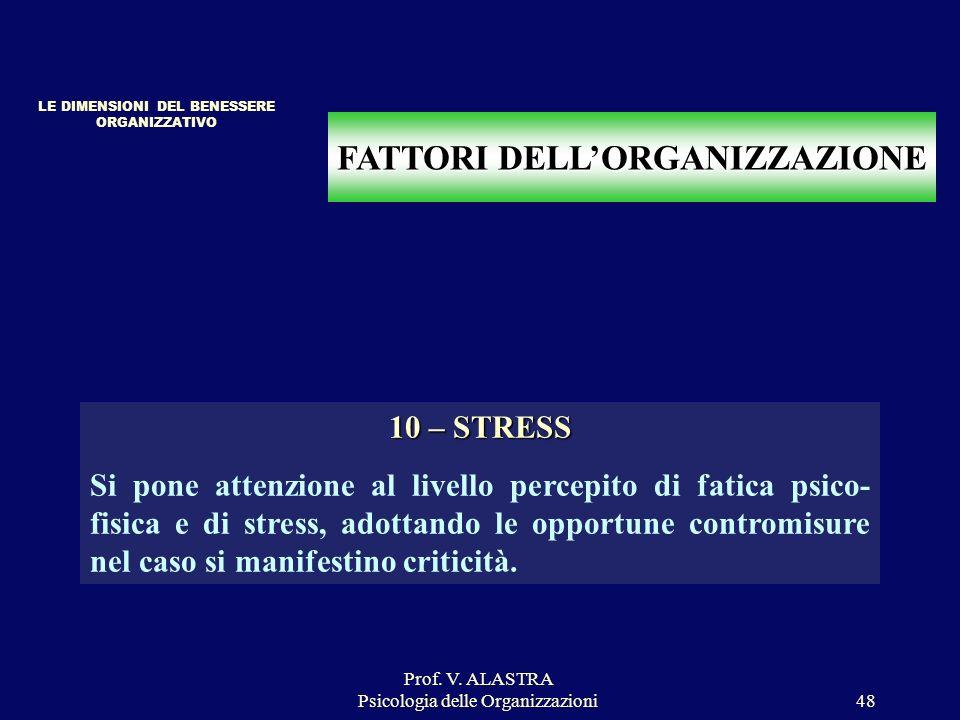 Prof. V. ALASTRA Psicologia delle Organizzazioni48 FATTORI DELLORGANIZZAZIONE 10 – STRESS Si pone attenzione al livello percepito di fatica psico- fis