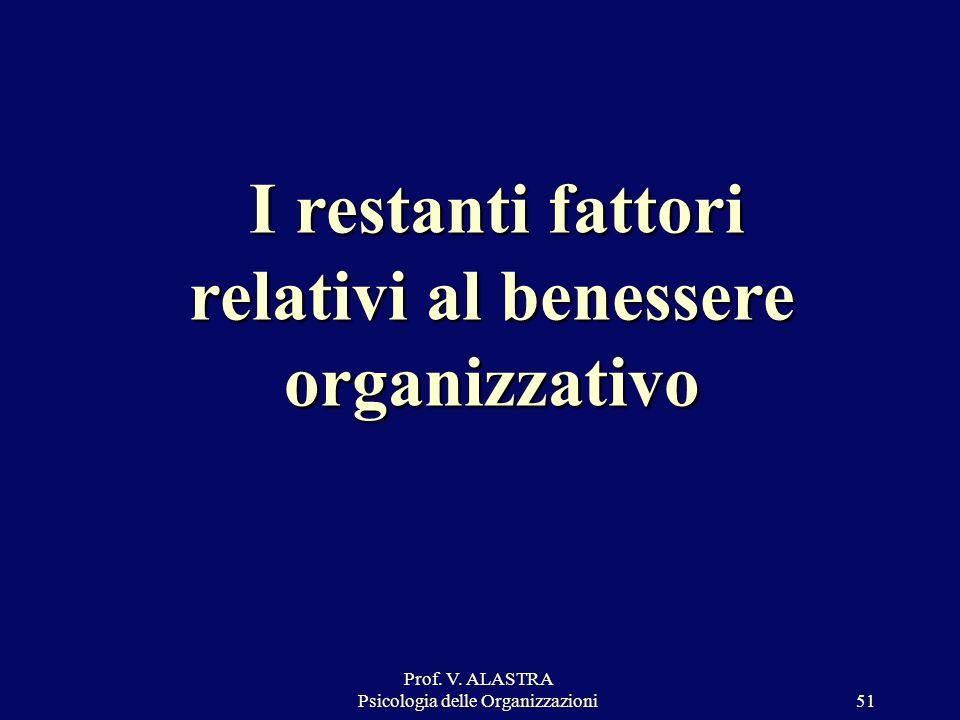 Prof. V. ALASTRA Psicologia delle Organizzazioni51 I restanti fattori relativi al benessere organizzativo I restanti fattori relativi al benessere org