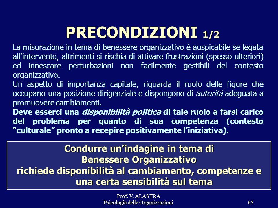 Prof. V. ALASTRA Psicologia delle Organizzazioni65 Condurre unindagine in tema di Benessere Organizzativo richiede disponibilità al cambiamento, compe