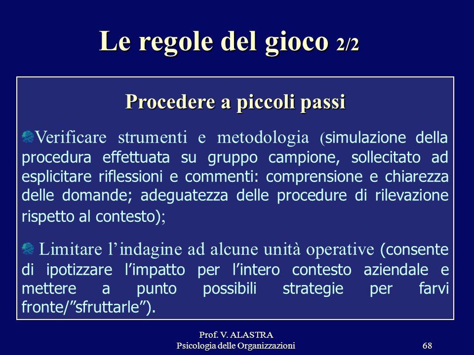 Prof. V. ALASTRA Psicologia delle Organizzazioni68 Procedere a piccoli passi Verificare strumenti e metodologia ( simulazione della procedura effettua