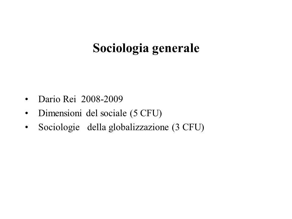 Sociologia generale Dario Rei 2008-2009 Dimensioni del sociale (5 CFU) Sociologie della globalizzazione (3 CFU)