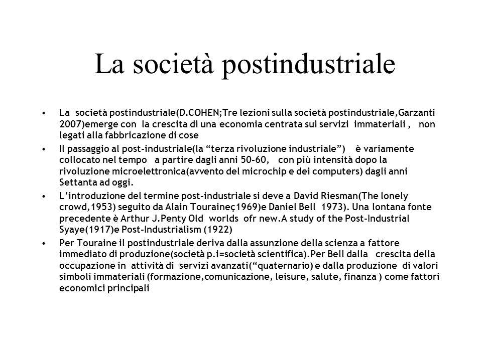 La società postindustriale La società postindustriale(D.COHEN;Tre lezioni sulla società postindustriale,Garzanti 2007)emerge con la crescita di una ec