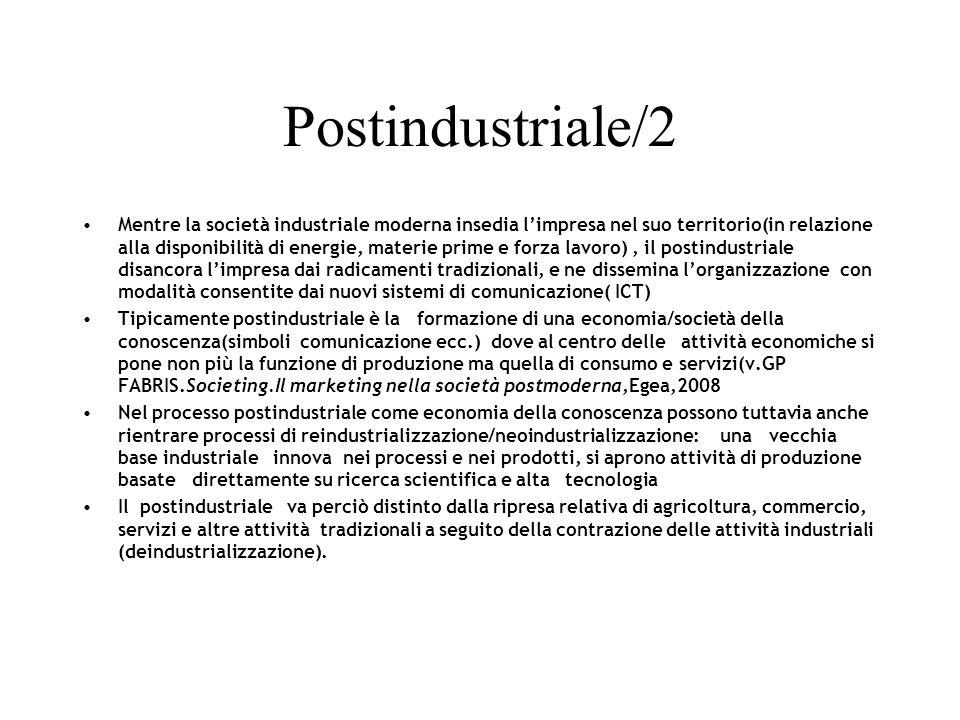 Postindustriale/2 Mentre la società industriale moderna insedia limpresa nel suo territorio(in relazione alla disponibilità di energie, materie prime