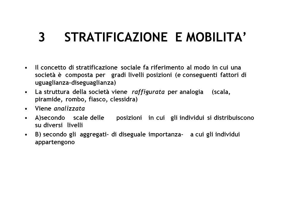 3 STRATIFICAZIONE E MOBILITA Il concetto di stratificazione sociale fa riferimento al modo in cui una società è composta per gradi livelli posizioni (