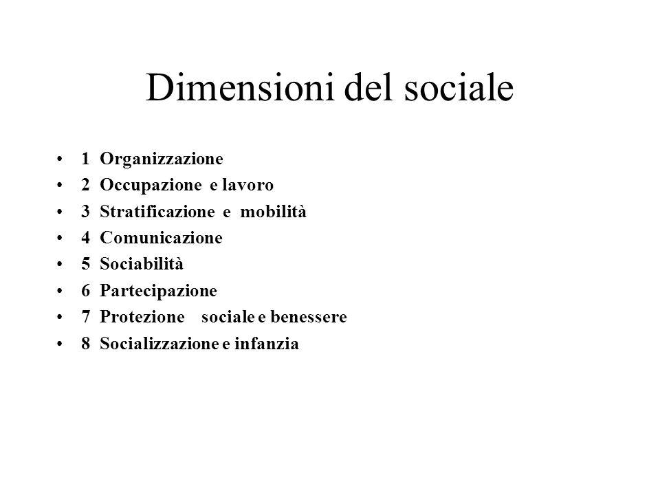 Dimensioni del sociale 1 Organizzazione 2 Occupazione e lavoro 3 Stratificazione e mobilità 4 Comunicazione 5 Sociabilità 6 Partecipazione 7 Protezion