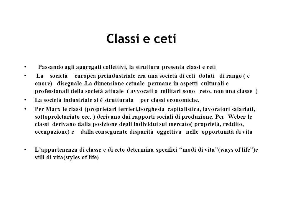 Classi e ceti Passando agli aggregati collettivi, la struttura presenta classi e ceti La società europea preindustriale era una società di ceti dotati