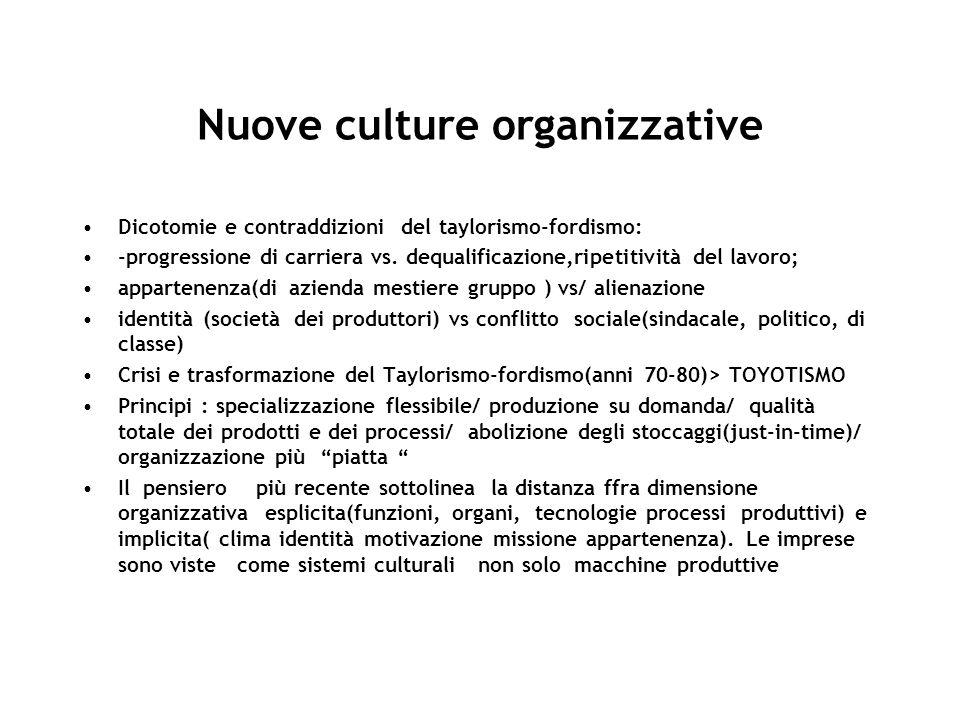 Nuove culture organizzative Dicotomie e contraddizioni del taylorismo-fordismo: -progressione di carriera vs. dequalificazione,ripetitività del lavoro