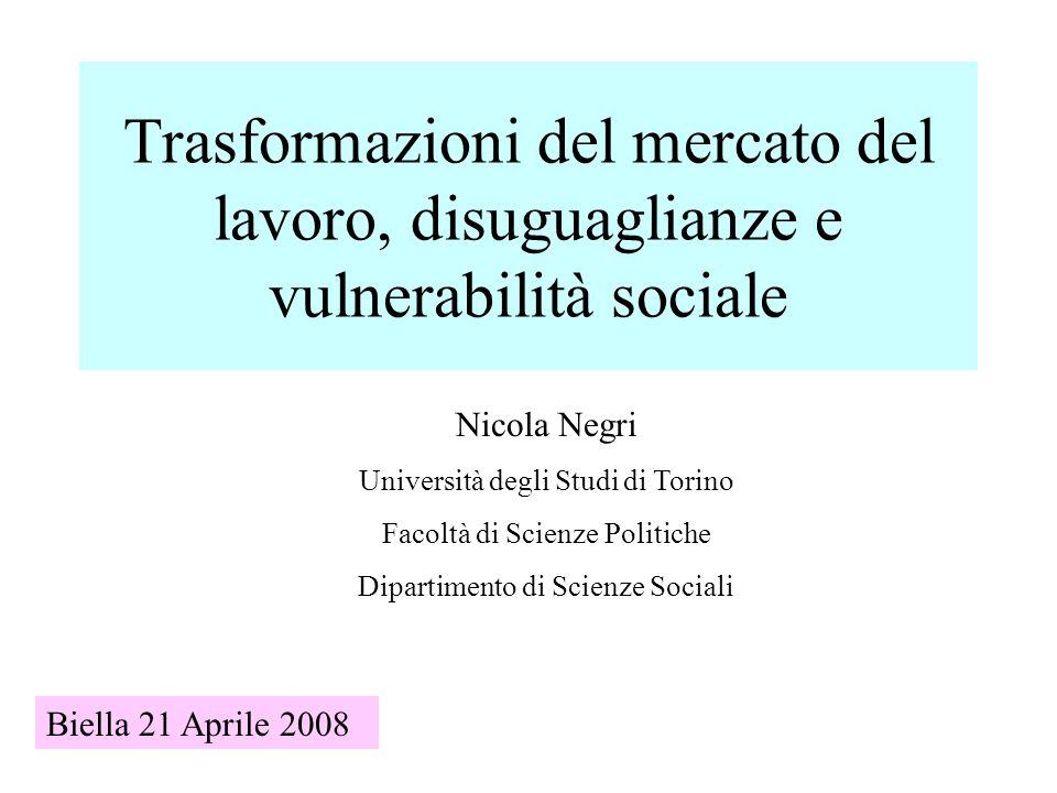 Trasformazioni del mercato del lavoro, disuguaglianze e vulnerabilità sociale Nicola Negri Università degli Studi di Torino Facoltà di Scienze Politiche Dipartimento di Scienze Sociali Biella 21 Aprile 2008