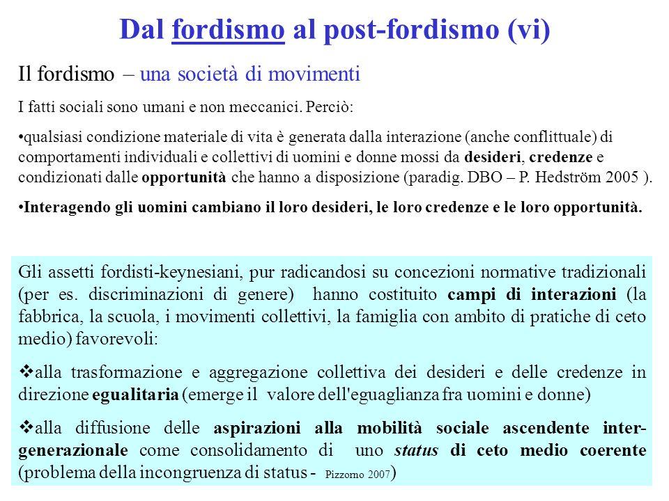 Dal fordismo al post-fordismo (vi) Il fordismo – una società di movimenti I fatti sociali sono umani e non meccanici. Perciò: qualsiasi condizione mat