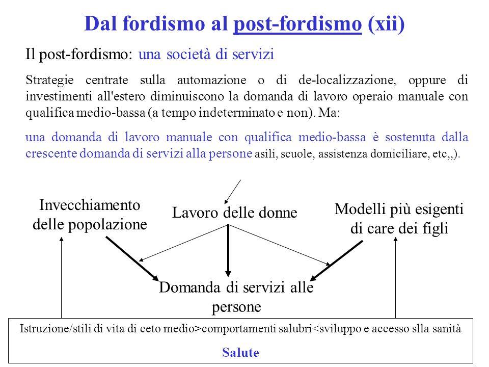 Dal fordismo al post-fordismo (xii) Il post-fordismo: una società di servizi Strategie centrate sulla automazione o di de-localizzazione, oppure di investimenti all estero diminuiscono la domanda di lavoro operaio manuale con qualifica medio-bassa (a tempo indeterminato e non).