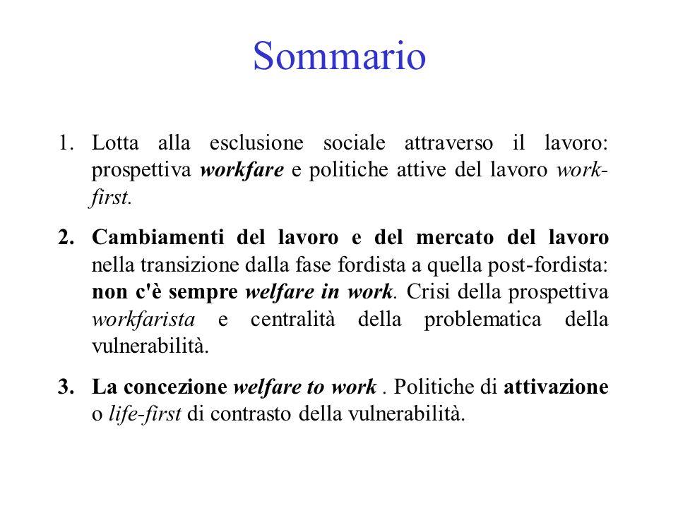 Sommario 1.Lotta alla esclusione sociale attraverso il lavoro: prospettiva workfare e politiche attive del lavoro work- first. 2.Cambiamenti del lavor