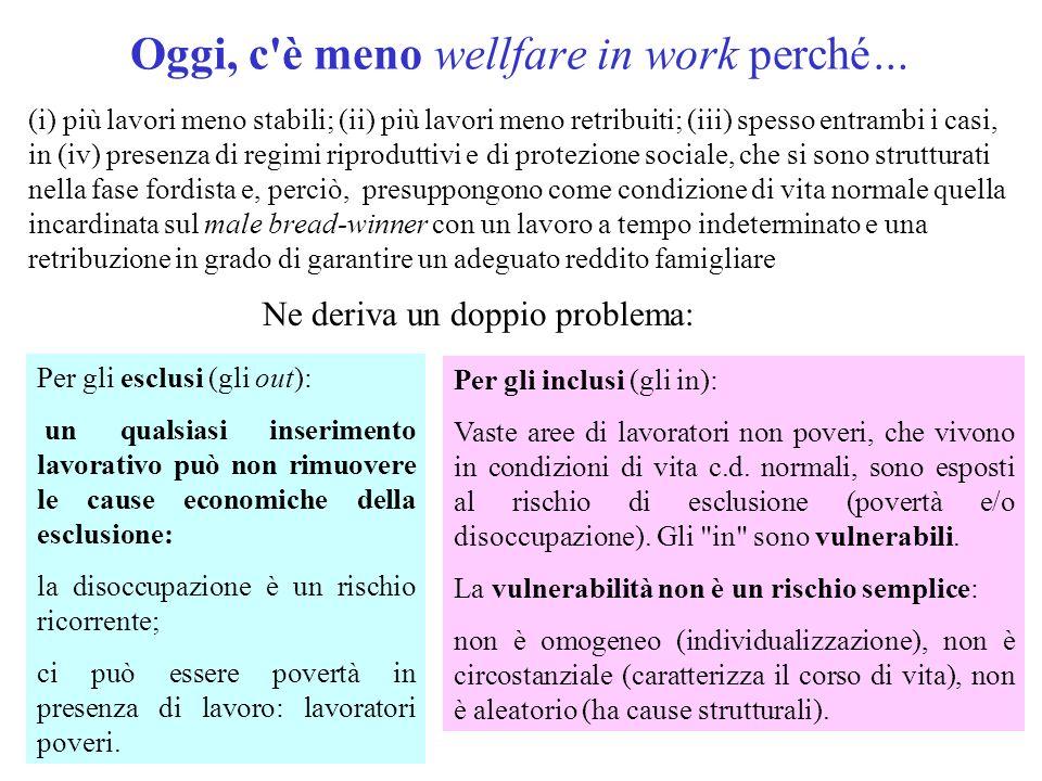 Oggi, c'è meno wellfare in work perché… (i) più lavori meno stabili; (ii) più lavori meno retribuiti; (iii) spesso entrambi i casi, in (iv) presenza d