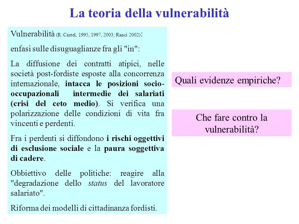 La teoria della vulnerabilità Vulnerabilità (R. Castel, 1995, 1997, 2003; Ranci 2002) : enfasi sulle disuguaglianze fra gli