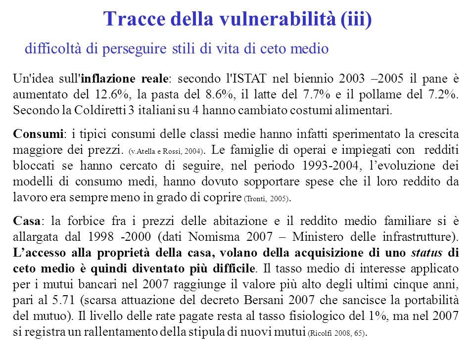 Tracce della vulnerabilità (iii) difficoltà di perseguire stili di vita di ceto medio Un idea sull inflazione reale: secondo l ISTAT nel biennio 2003 –2005 il pane è aumentato del 12.6%, la pasta del 8.6%, il latte del 7.7% e il pollame del 7.2%.