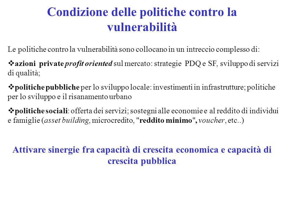 Condizione delle politiche contro la vulnerabilità Le politiche contro la vulnerabilità sono collocano in un intreccio complesso di: azioni private pr