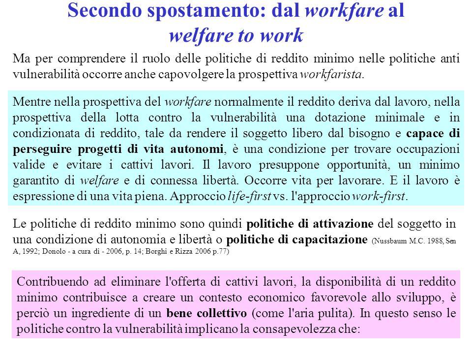 Secondo spostamento: dal workfare al welfare to work Ma per comprendere il ruolo delle politiche di reddito minimo nelle politiche anti vulnerabilità occorre anche capovolgere la prospettiva workfarista.