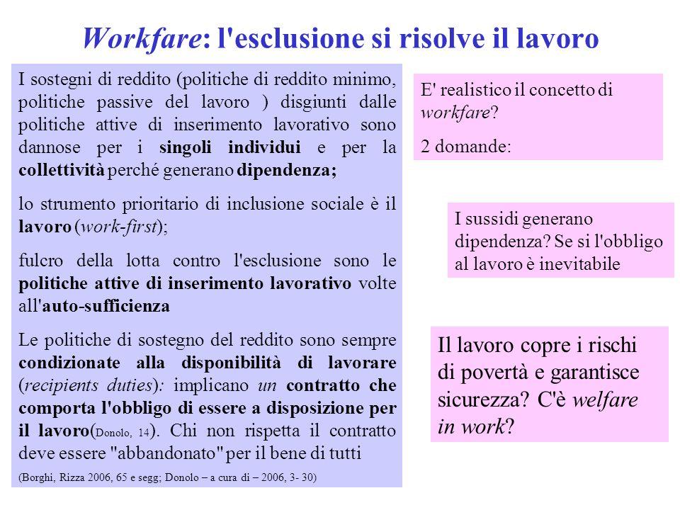 Workfare: l'esclusione si risolve il lavoro I sostegni di reddito (politiche di reddito minimo, politiche passive del lavoro ) disgiunti dalle politic
