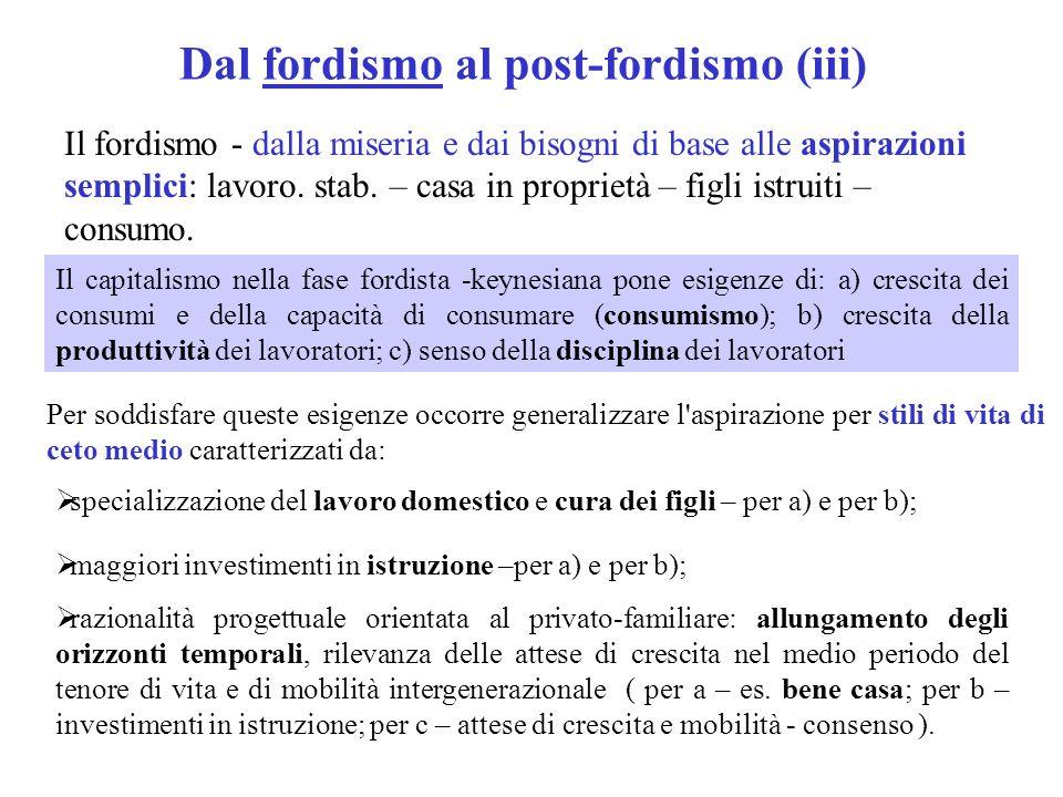 Dal fordismo al post-fordismo (iii) Il fordismo - dalla miseria e dai bisogni di base alle aspirazioni semplici: lavoro. stab. – casa in proprietà – f