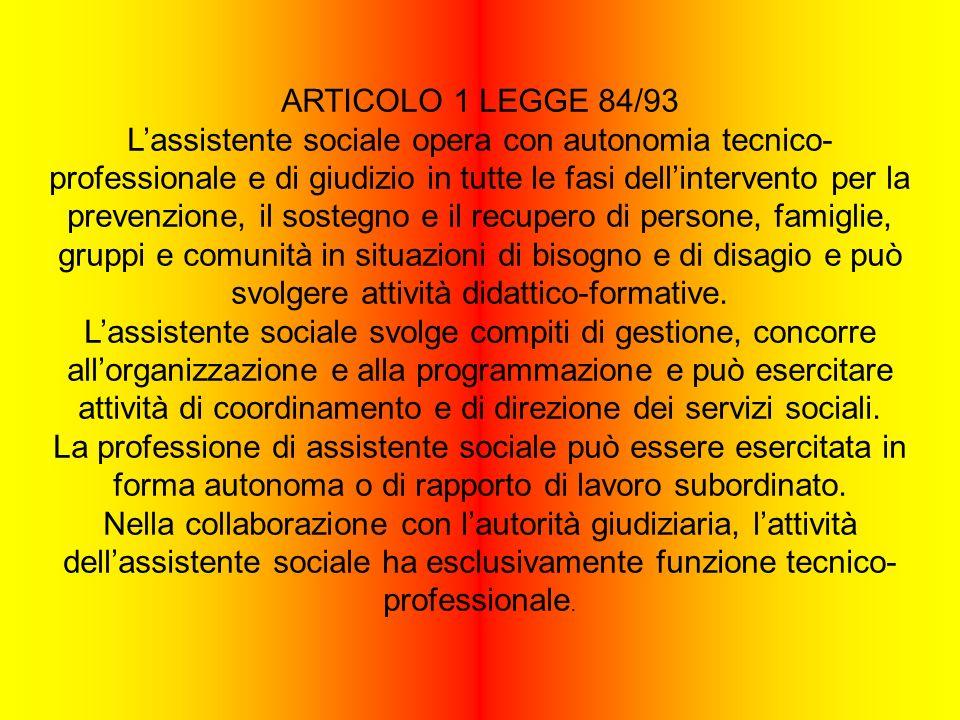 ARTICOLO 1 LEGGE 84/93 Lassistente sociale opera con autonomia tecnico- professionale e di giudizio in tutte le fasi dellintervento per la prevenzione