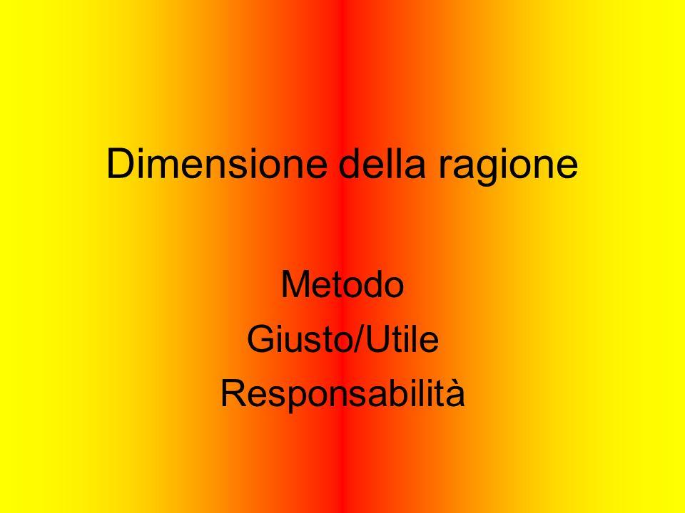 Dimensione della ragione Metodo Giusto/Utile Responsabilità