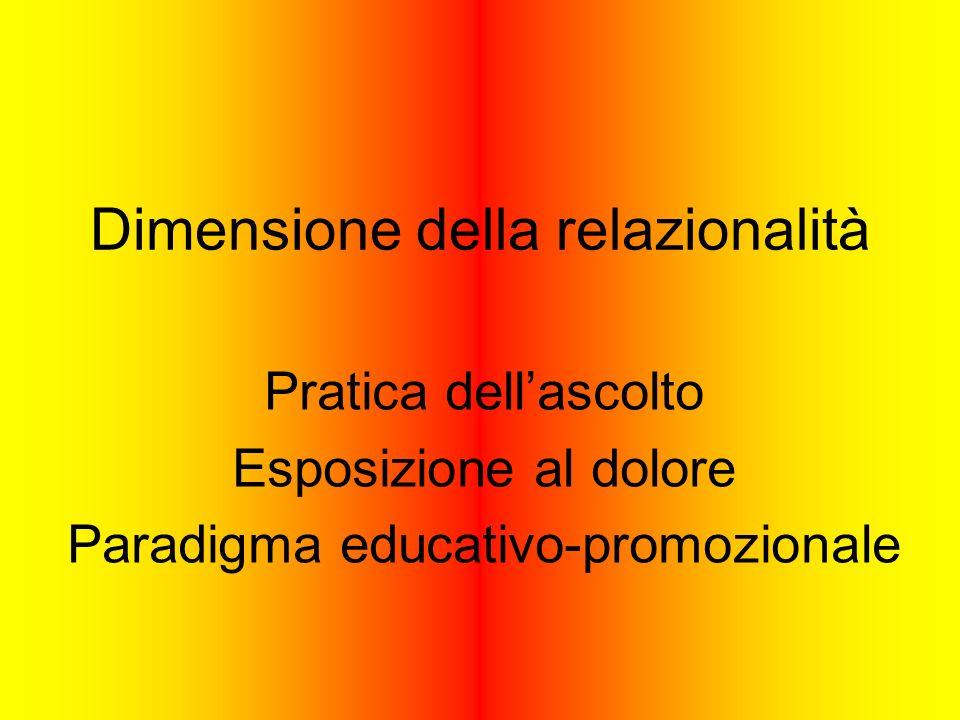Dimensione della relazionalità Pratica dellascolto Esposizione al dolore Paradigma educativo-promozionale