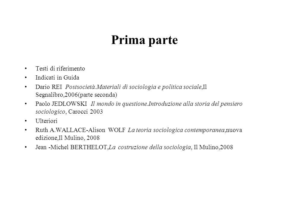 Prima parte Testi di riferimento Indicati in Guida Dario REI Postsocietà.Materiali di sociologia e politica sociale,Il Segnalibro,2006(parte seconda)