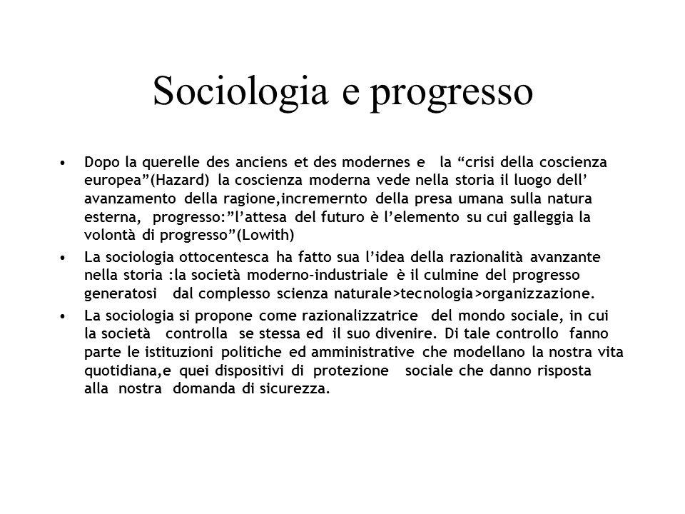 Sociologia e progresso Dopo la querelle des anciens et des modernes e la crisi della coscienza europea(Hazard) la coscienza moderna vede nella storia