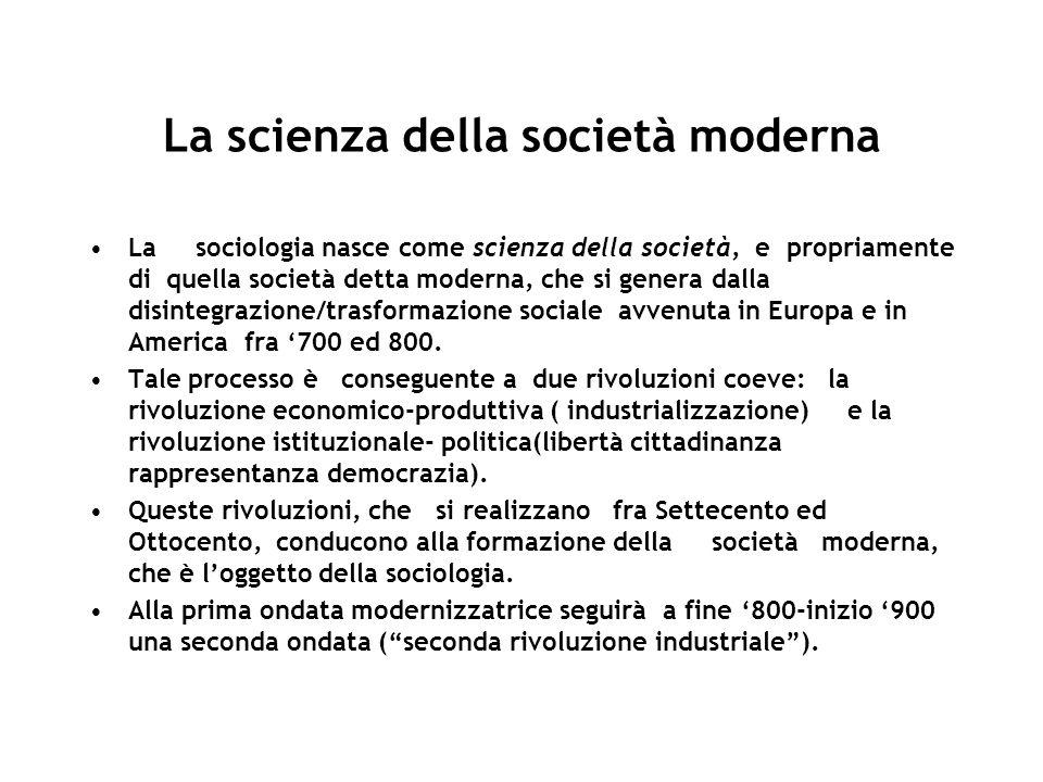 La scienza della società moderna La sociologia nasce come scienza della società, e propriamente di quella società detta moderna, che si genera dalla disintegrazione/trasformazione sociale avvenuta in Europa e in America fra 700 ed 800.
