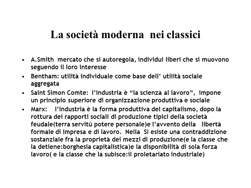 La società moderna nei classici A.Smith mercato che si autoregola, individui liberi che si muovono seguendo il loro interesse Bentham: utilità individ
