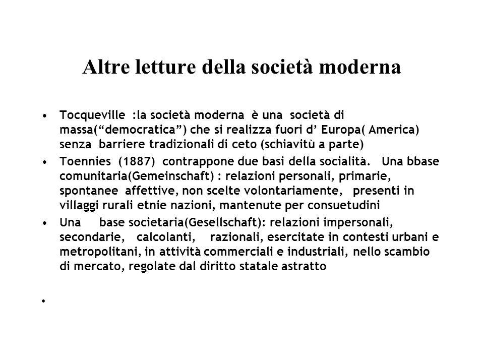 Altre letture della società moderna Tocqueville :la società moderna è una società di massa(democratica) che si realizza fuori d Europa( America) senza barriere tradizionali di ceto (schiavitù a parte) Toennies (1887) contrappone due basi della socialità.