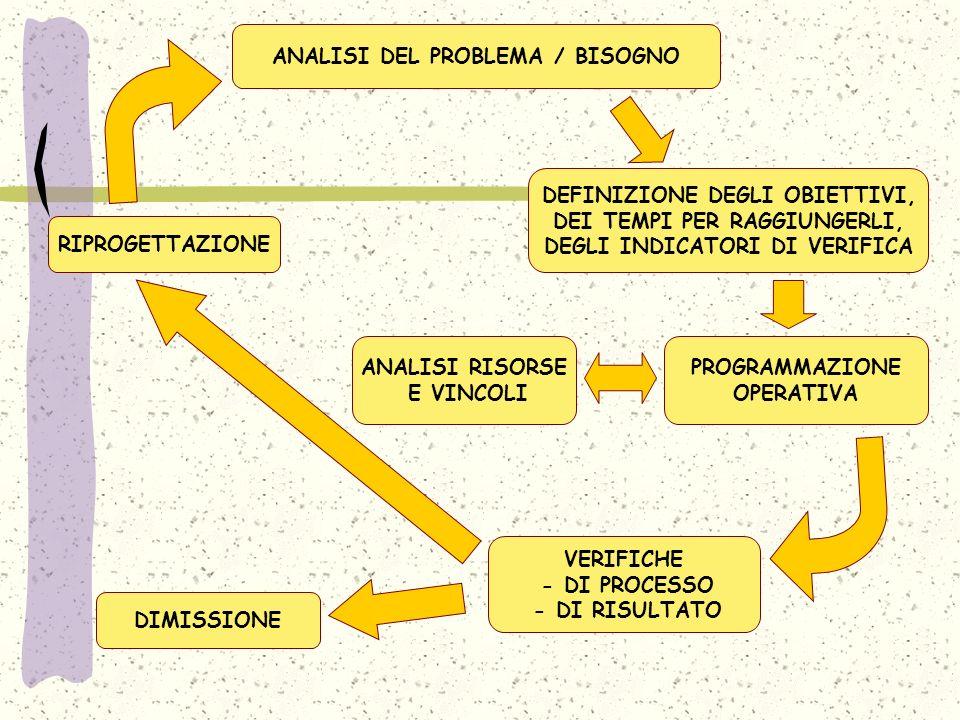 ANALISI DEL PROBLEMA / BISOGNO ANALISI RISORSE E VINCOLI DEFINIZIONE DEGLI OBIETTIVI, DEI TEMPI PER RAGGIUNGERLI, DEGLI INDICATORI DI VERIFICA PROGRAMMAZIONE OPERATIVA VERIFICHE - DI PROCESSO - DI RISULTATO RIPROGETTAZIONE DIMISSIONE