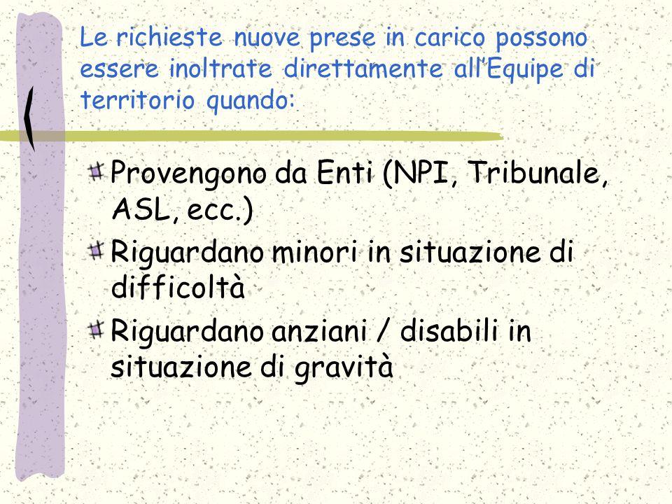 Le richieste nuove prese in carico possono essere inoltrate direttamente allEquipe di territorio quando: Provengono da Enti (NPI, Tribunale, ASL, ecc.