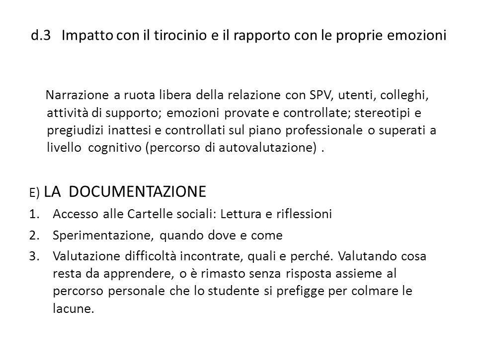 d.3 Impatto con il tirocinio e il rapporto con le proprie emozioni Narrazione a ruota libera della relazione con SPV, utenti, colleghi, attività di su