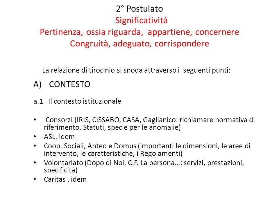 2° Postulato Significatività Pertinenza, ossia riguarda, appartiene, concernere Congruità, adeguato, corrispondere La relazione di tirocinio si snoda