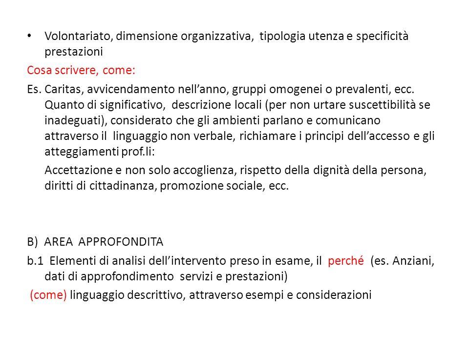 Volontariato, dimensione organizzativa, tipologia utenza e specificità prestazioni Cosa scrivere, come: Es. Caritas, avvicendamento nellanno, gruppi o