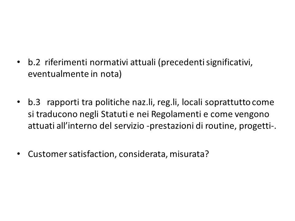 b.2 riferimenti normativi attuali (precedenti significativi, eventualmente in nota) b.3 rapporti tra politiche naz.li, reg.li, locali soprattutto come