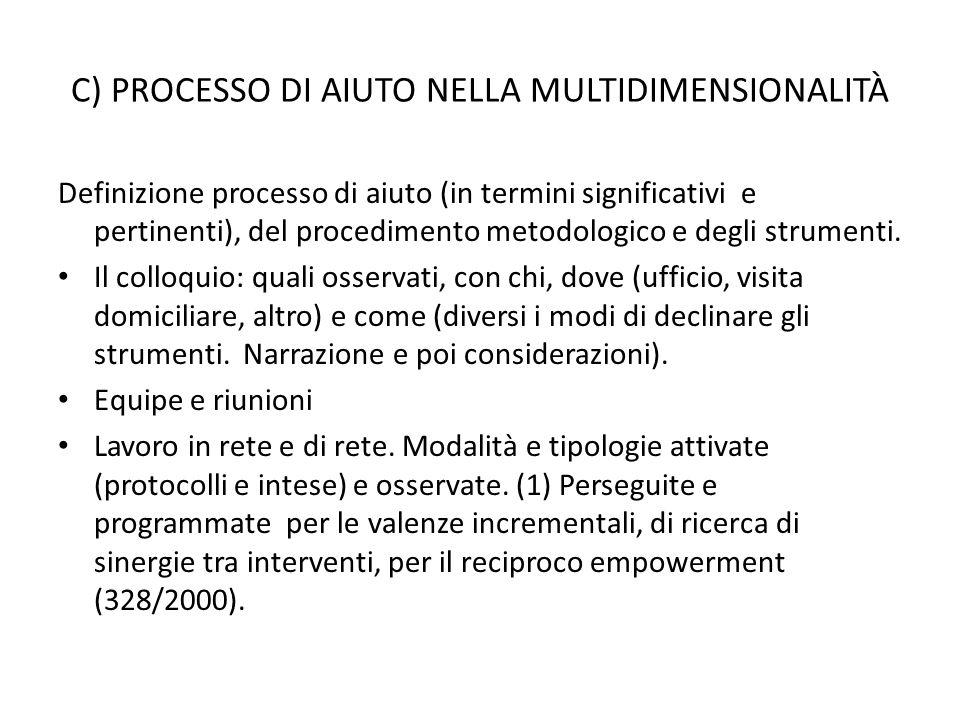 C) PROCESSO DI AIUTO NELLA MULTIDIMENSIONALITÀ Definizione processo di aiuto (in termini significativi e pertinenti), del procedimento metodologico e