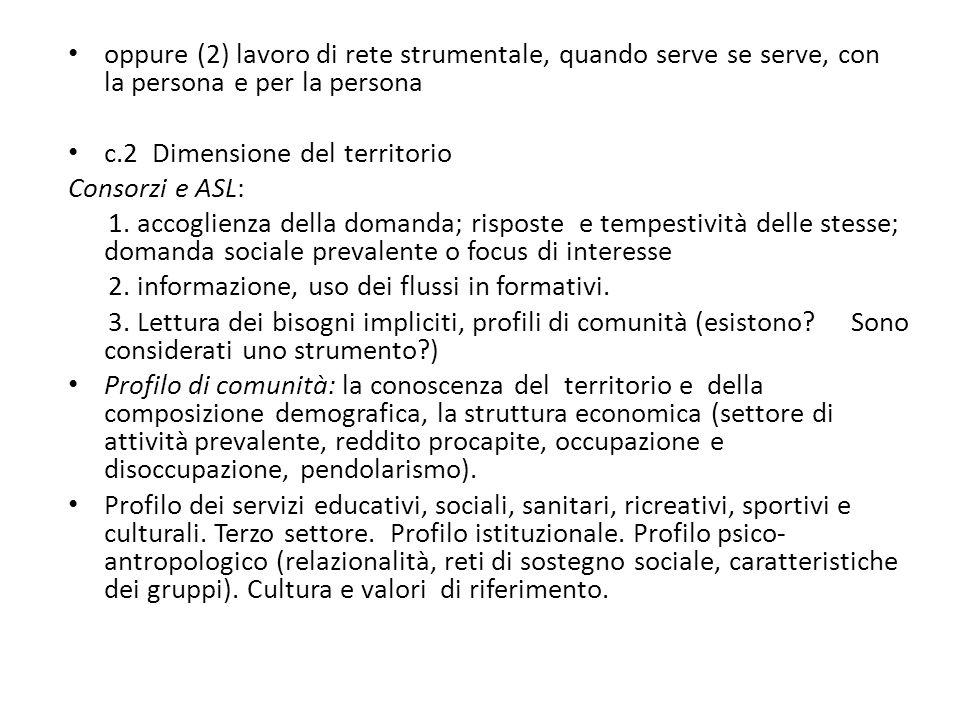 oppure (2) lavoro di rete strumentale, quando serve se serve, con la persona e per la persona c.2 Dimensione del territorio Consorzi e ASL: 1. accogli