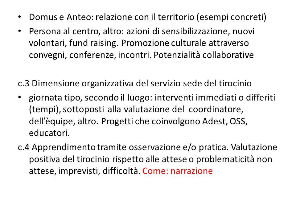 Domus e Anteo: relazione con il territorio (esempi concreti) Persona al centro, altro: azioni di sensibilizzazione, nuovi volontari, fund raising. Pro
