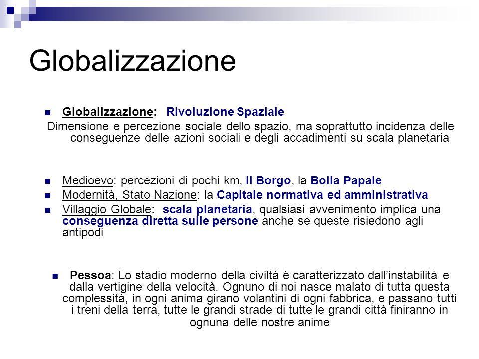 Globalizzazione Globalizzazione: Rivoluzione Spaziale Dimensione e percezione sociale dello spazio, ma soprattutto incidenza delle conseguenze delle a