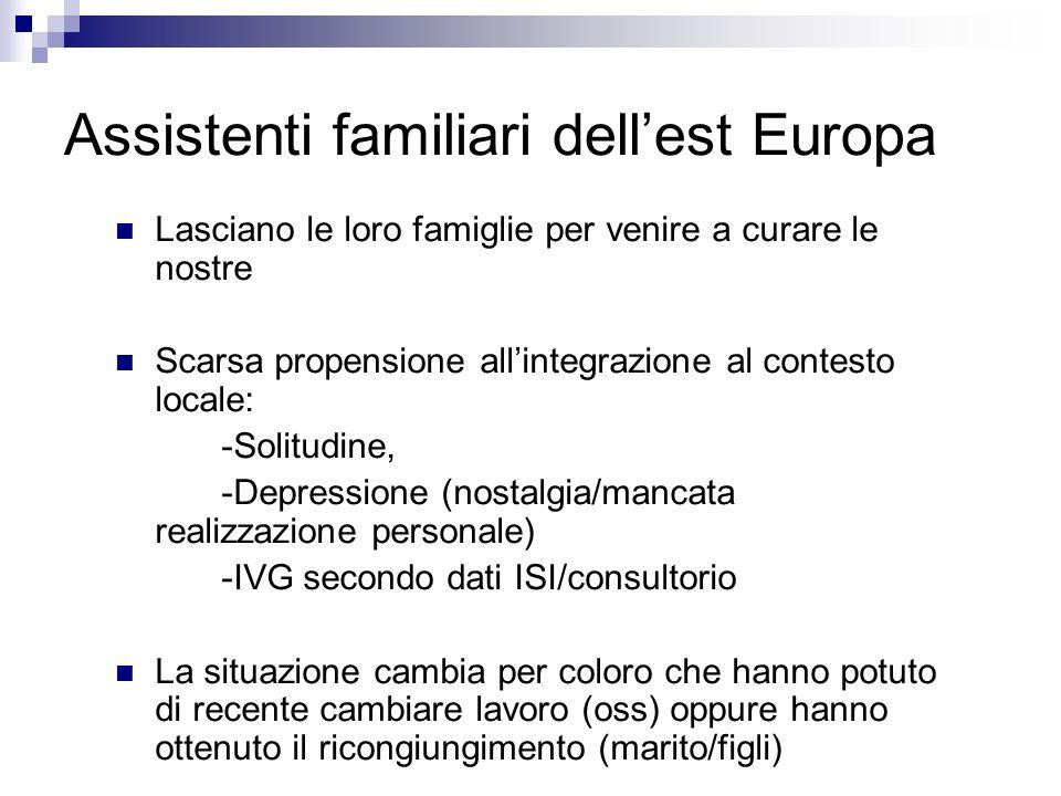 Assistenti familiari dellest Europa Lasciano le loro famiglie per venire a curare le nostre Scarsa propensione allintegrazione al contesto locale: -So