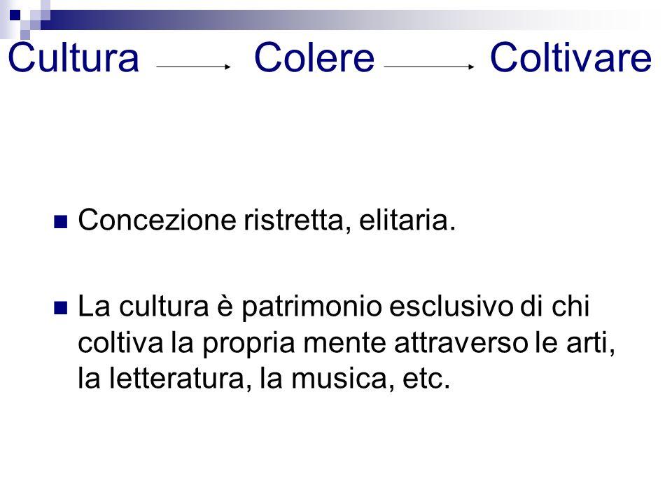Cultura Colere Coltivare Concezione ristretta, elitaria. La cultura è patrimonio esclusivo di chi coltiva la propria mente attraverso le arti, la lett