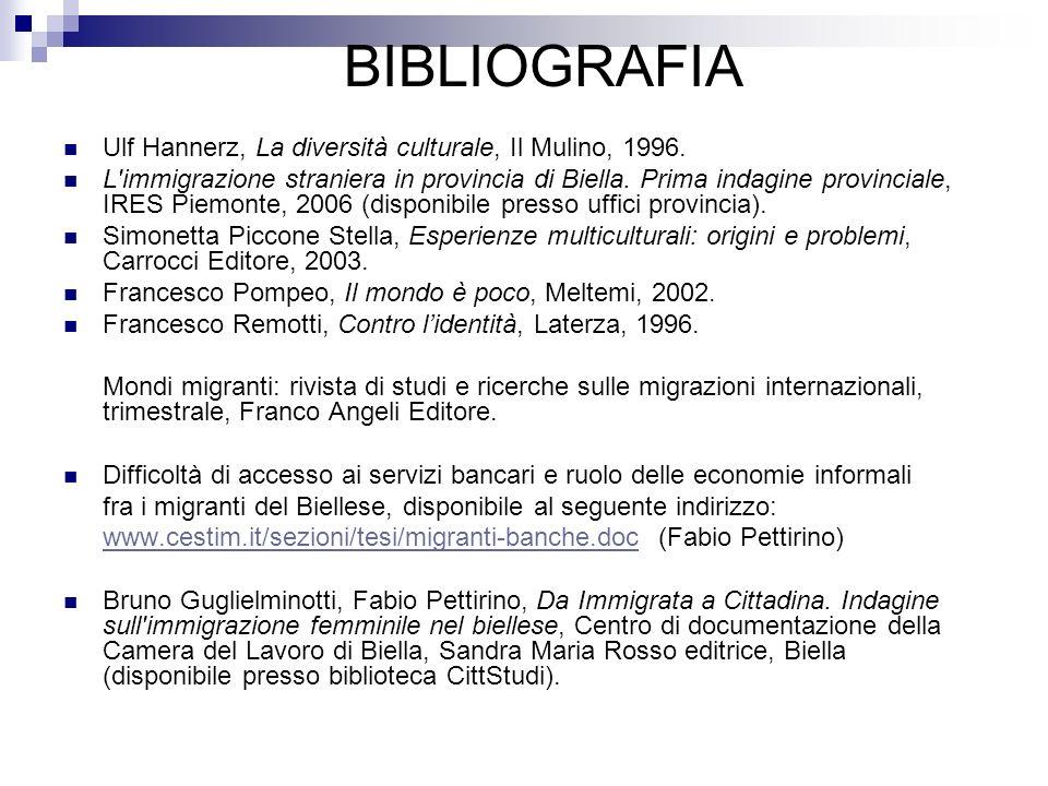 BIBLIOGRAFIA Ulf Hannerz, La diversità culturale, Il Mulino, 1996. L'immigrazione straniera in provincia di Biella. Prima indagine provinciale, IRES P