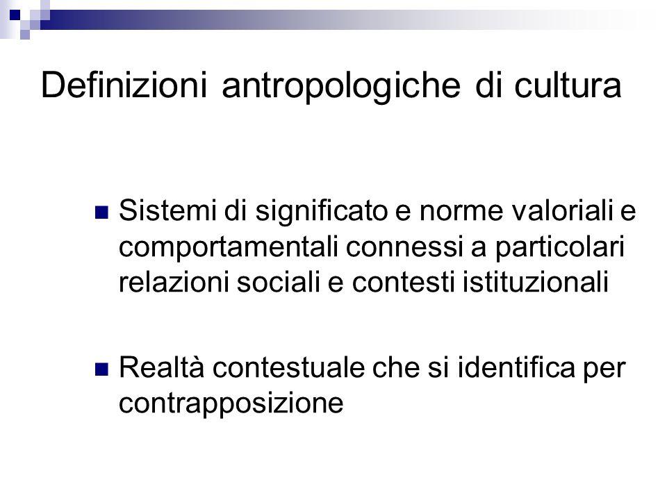 Definizioni antropologiche di cultura Sistemi di significato e norme valoriali e comportamentali connessi a particolari relazioni sociali e contesti i