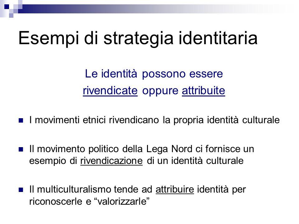 Esempi di strategia identitaria Le identità possono essere rivendicate oppure attribuite I movimenti etnici rivendicano la propria identità culturale