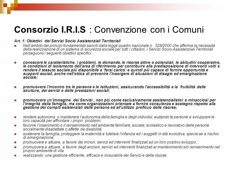 Consorzio I.R.I.S : Convenzione con i Comuni Art. 1: Obiettivi dei Servizi Socio Assistenziali Territoriali Nellambito dei principi fondamentali sanci
