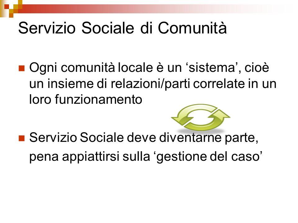 Servizio Sociale di Comunità Ogni comunità locale è un sistema, cioè un insieme di relazioni/parti correlate in un loro funzionamento Servizio Sociale