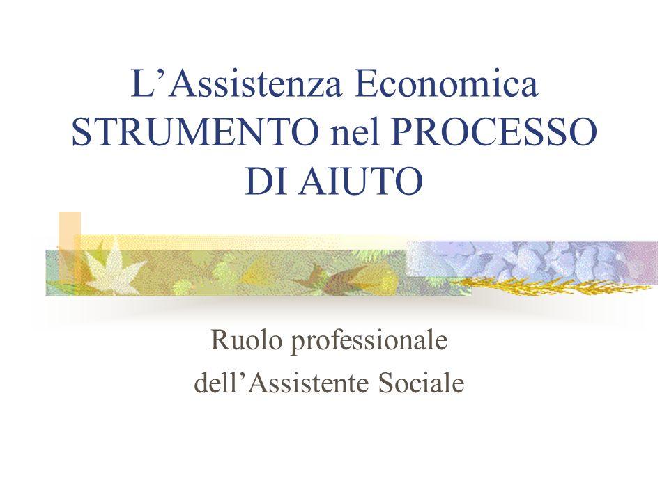 LAssistenza Economica STRUMENTO nel PROCESSO DI AIUTO Ruolo professionale dellAssistente Sociale