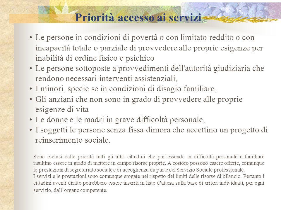 Priorità accesso ai servizi Le persone in condizioni di povertà o con limitato reddito o con incapacità totale o parziale di provvedere alle proprie e