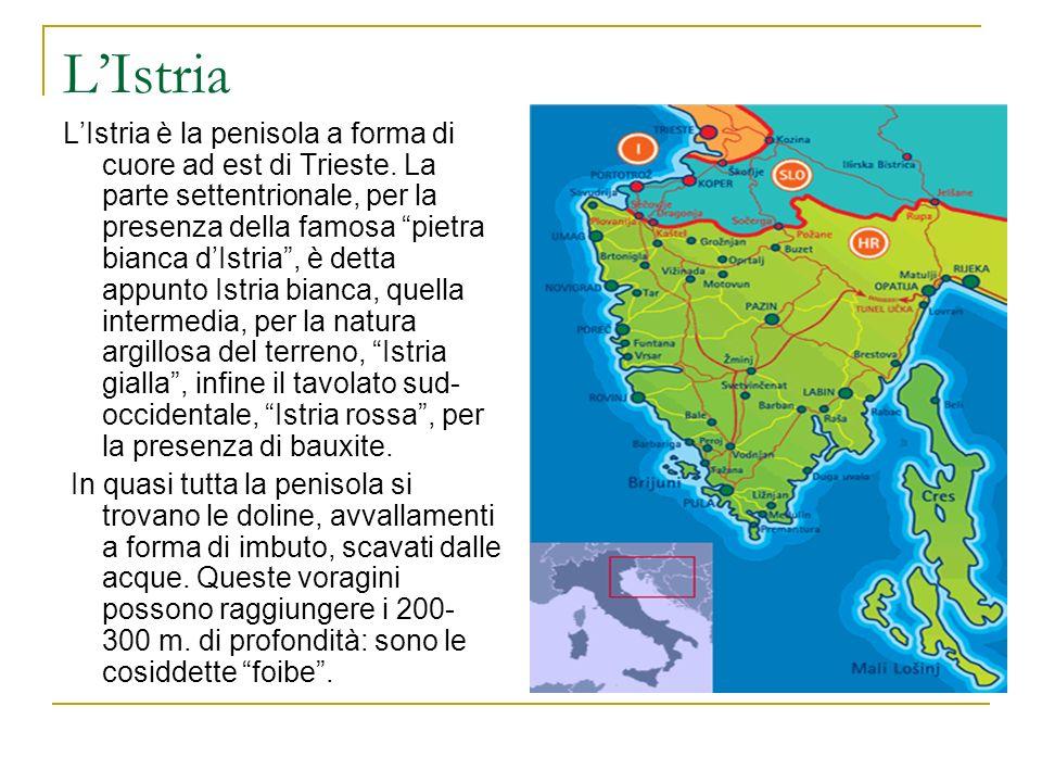 LIstria LIstria è la penisola a forma di cuore ad est di Trieste. La parte settentrionale, per la presenza della famosa pietra bianca dIstria, è detta